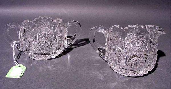 1407: CUT GLASS SUGAR AND CREAMER, in the American Bril