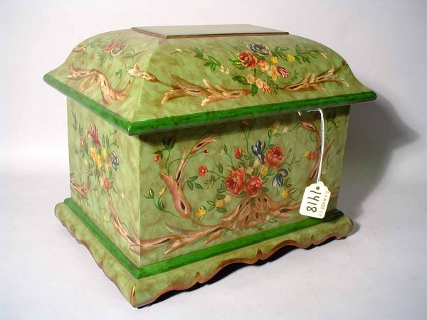 1418: DECORATED COMPOSITION COVERED BOX, having a handp