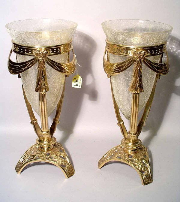 1419: PAIR OF POLISHED BRASS AND GLASS PEDESTAL FORM VA