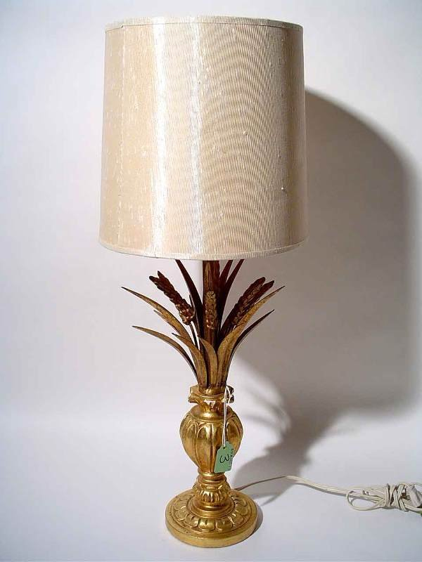 3: GILDED COMPOSITION TABLE LAMP, modeled as a vase wit