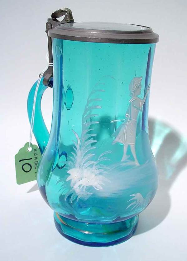 10: MARY GREGORY STYLE ENAMEL DECORATED COVERED TANKARD