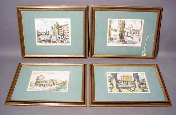 13: SET OF FOUR FRAMED COLORED PRINTS - VIEWS OF ROME,