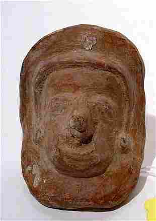 """""""PRE-COLUMBIAN CENTRAL AMERICAN POTTERY MASK, depi"""
