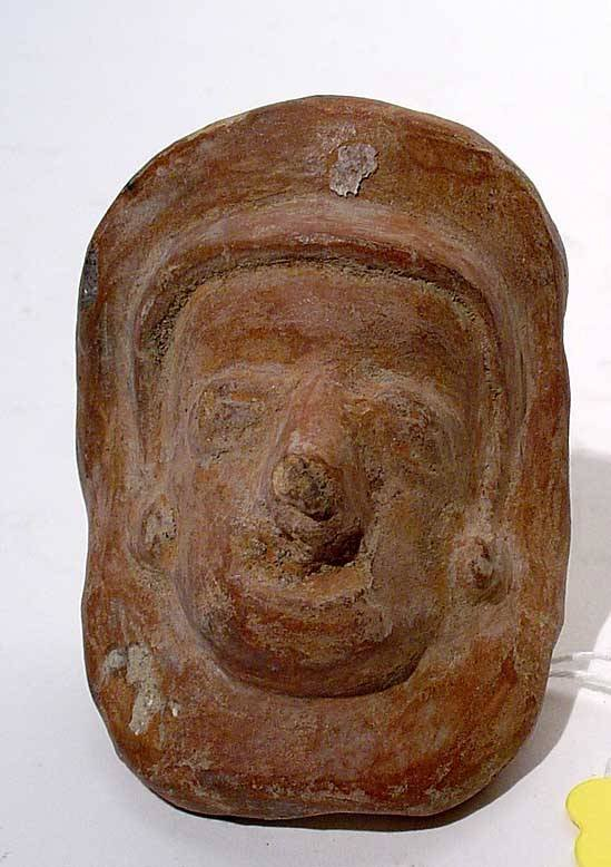 """402: """"PRE-COLUMBIAN CENTRAL AMERICAN POTTERY MASK, depi"""