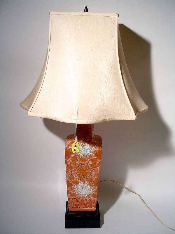 "410: ""DECORATED PORCELAIN TABLE LAMP, having floral dec"