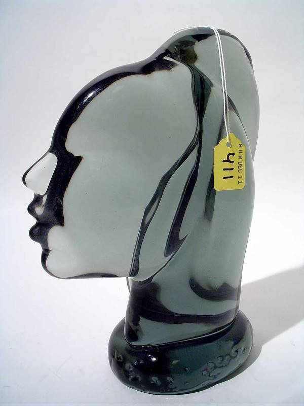"""411: """"MURANO STYLE COLORED CRYSTAL SCULPTURE OF A WOMAN"""