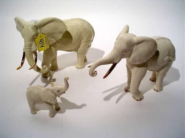 "414: ""THREE-PIECE GILT ACCENTED LENOX PORCELAIN ELEPHAN"