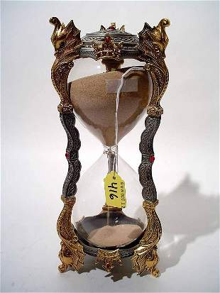 """""""PEWTER-GILT METAL MEDIEVAL STY HOURGLASS, dragon"""