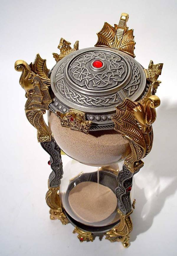 "416: ""PEWTER-GILT METAL MEDIEVAL STY HOURGLASS, dragon  - 2"