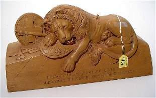 """CARVED WOODEN SLAIN MALE LION, Swiss Guards Regim"