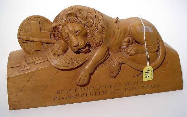"417: ""CARVED WOODEN SLAIN MALE LION, Swiss Guards Regim"