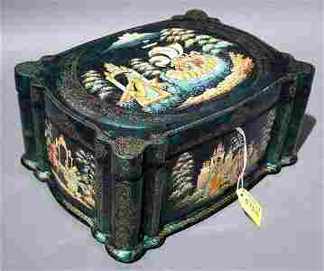 """573B: """"SUPERBLY HAND-PAINTED RUSSIAN LACQUERED LIDDED B"""