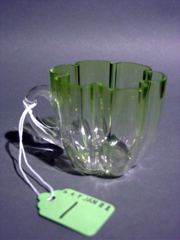 1: LOBED GLASS PUNCH CUP, attributed to Moser having a