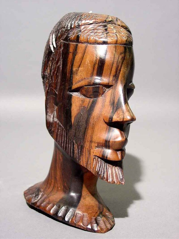 3: CARVED ROSEWOOD AFRICAN TRIBAL BUST, possibly Ethiop