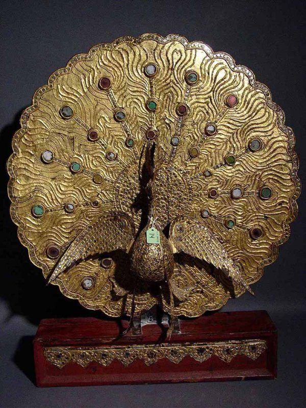 14: THAI CARVED, GILDED AND JEWELED FIGURE OF A PEACOCK