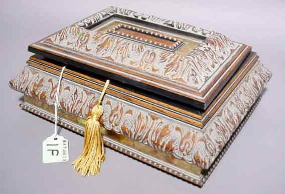 404: EUROPEAN GILDED WALNUT FINISH MEMORY BOX, with a w