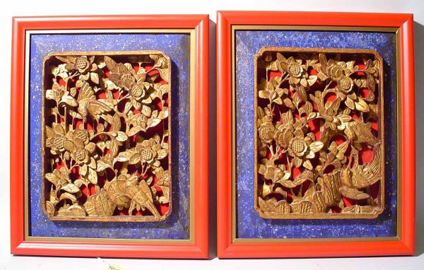 406: PAIR OF MALAY-CHINESE CARVED AND GILDED FRAMED PAN
