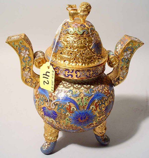 412: CHAMPLEVE CLOISONNE-GILT CHINESE DOMED INCENSE BUR