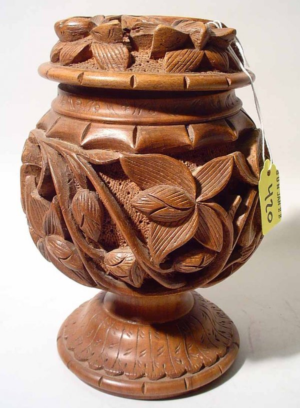 420: POLYNESIAN WELL-CARVED WALNUT LIDDED PEDESTAL CONT