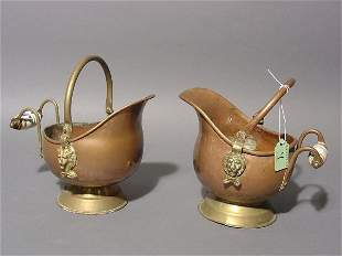 PAIR OF SMALL DUTCH COPPER AND BRASS HELMET DESIGN P