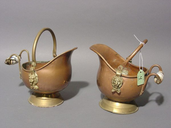 4: PAIR OF SMALL DUTCH COPPER AND BRASS HELMET DESIGN P