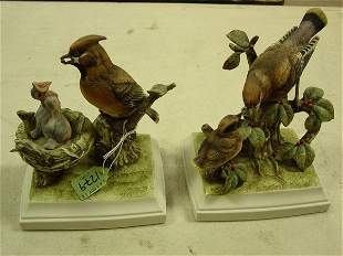 PAIR OF ANDREA DECORATED BISQUE FIGURAL GROUPS, Waxw