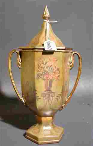 REGENCY STYLE GILT DECORATED COMPOSITION HANDLED CO