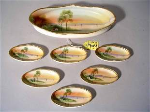 SEVEN-PIECE HAND-PAINTED NIPPON NUT SET, comprised
