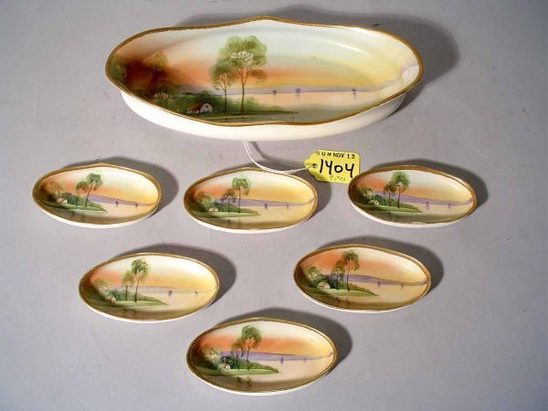 17: SEVEN-PIECE HAND-PAINTED NIPPON NUT SET, comprised