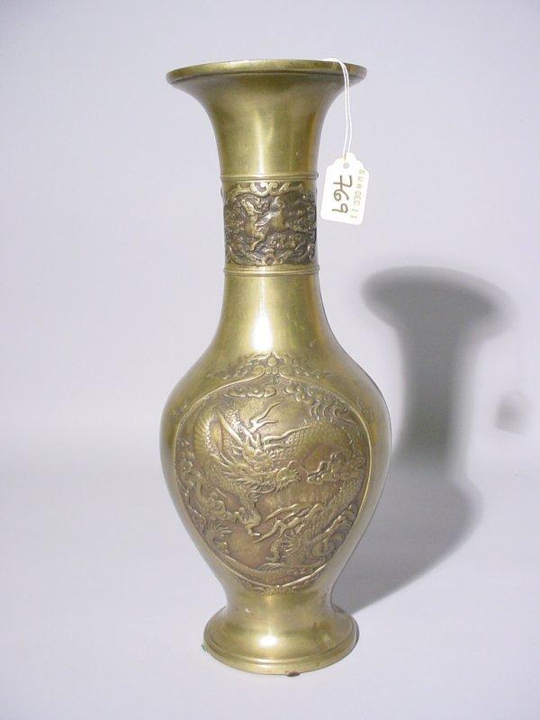 19: CHINESE POLISHED BRONZE VASE, 19th century, of balu