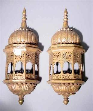 PAIR OF MID-EASTERN GILDED AND CARVED WOOD ORNAMENT
