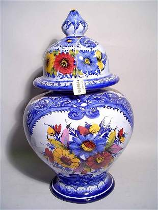 PORTUGESE BLUE AND WHITE DECORATED CERAMIC COVERED