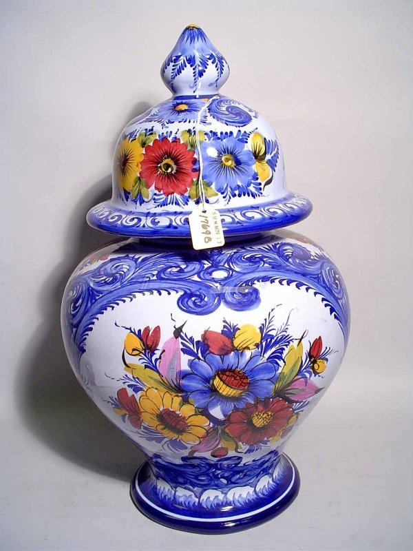 24: PORTUGESE BLUE AND WHITE DECORATED CERAMIC COVERED