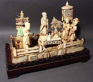 176B: CHINESE CARVED IVORY FIGURAL GROUP, mid 20th cent