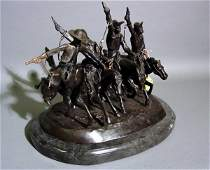 278: AFTER FREDERIC REMINGTON; patinated bronze figural