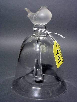 LALIQUE ART GLASS SPARROW HANDLE BELL, with the et