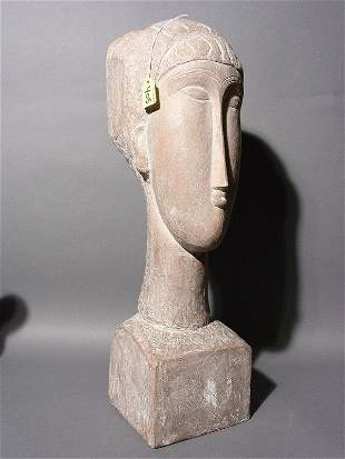 TERRACOTA FINISHED CERAMIC BUST OF A WOMAN, 20th c