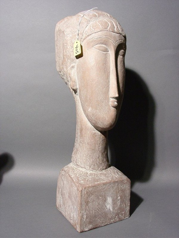 405: TERRACOTA FINISHED CERAMIC BUST OF A WOMAN, 20th c