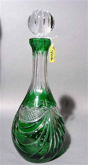 EMERALD CUT-TO-CLEAR CUT CRYSTAL WINE DECANTER, th