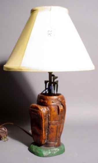 409: GOLV BAG FIGURAL TABLE LAMP, modeled as a golf bag