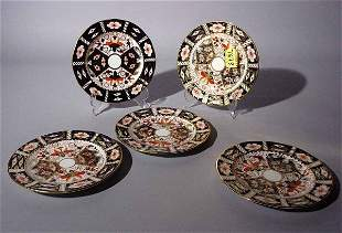 LOT OF FIVE ROYAL CROWN DERBY DECORATED CHINA BREA