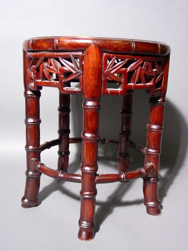416: SMALL CHINESE CIRCULAR CARVED ROSEWOOD BAMBOO STYL