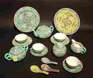 THIRTY-FOUR PIECE ENAMEL DECORATED CHINESE PORCELA
