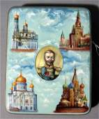 483A GOOD RUSSIAN LACQUER FINISHED HANDPAINTED INLAID
