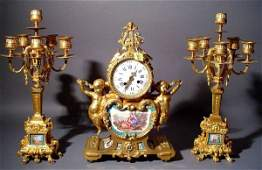 507 SUPERB 3PC BRZ DORESEVRES CLOCK SUITE WITH CANDL