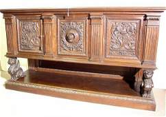 611 FRENCH RENAISSANCE STYLE CARVED WALNUT THREEDOOR
