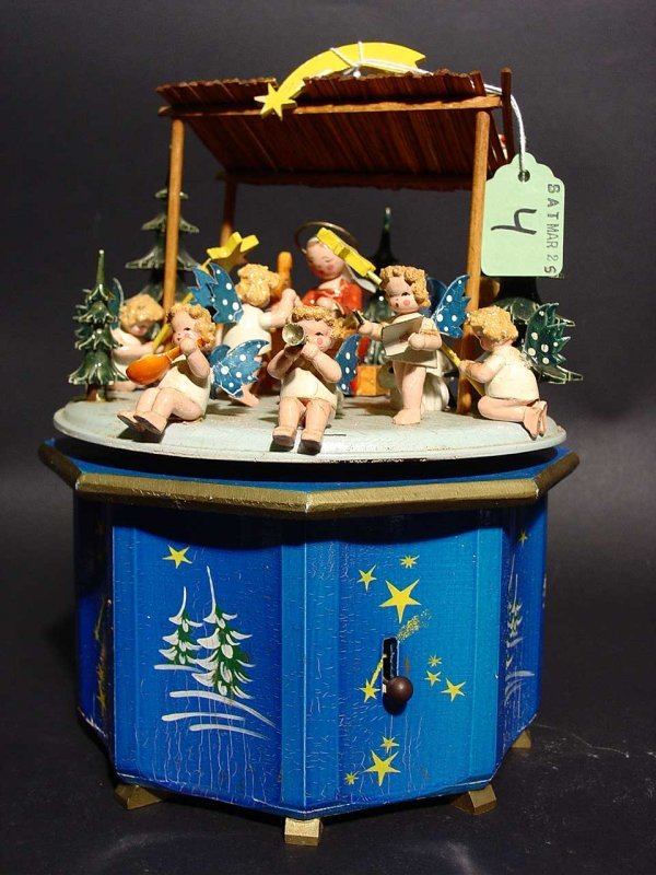 4: GERMAN CARVED AND PAINTED CAROUSEL DESIGN MUSIC BOX,