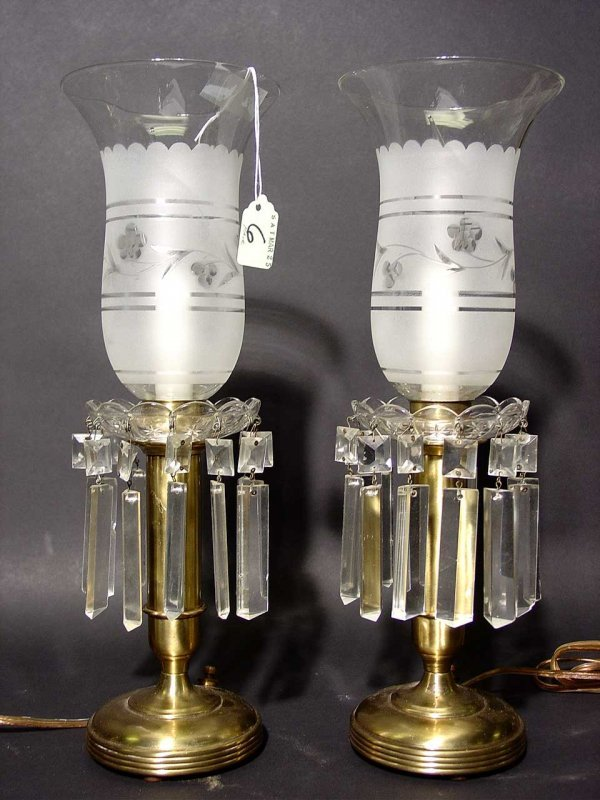 6: PAIR OF POLISHED BRASS CANDLEHOLDER STYLE TABLE LAMP
