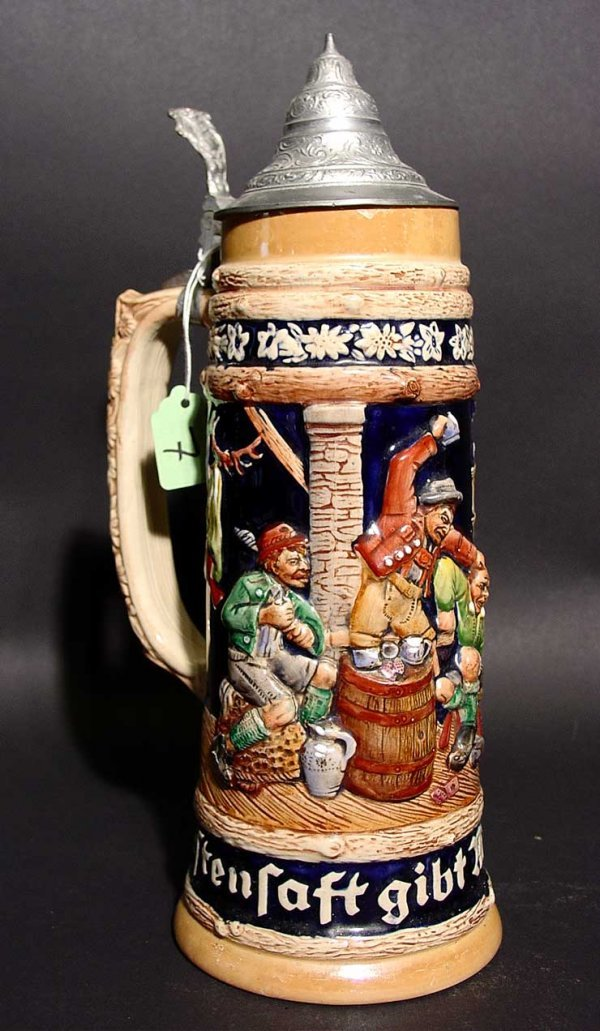 7: DECORATED GERMAN CERAMIC BEER STEIN WITH PEWTER LID,