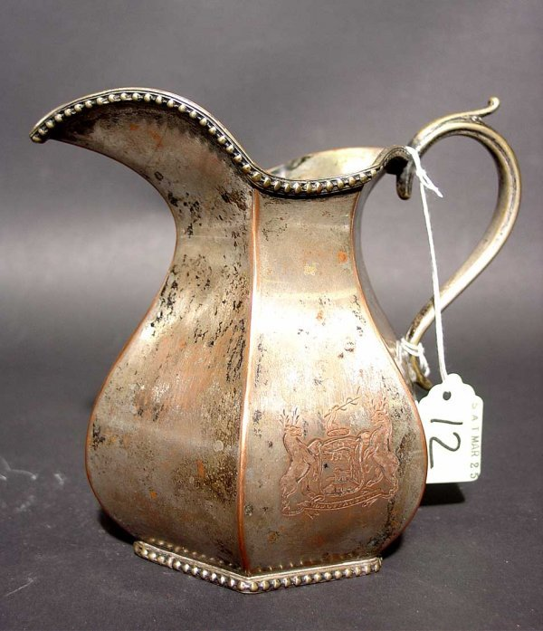 12: EARLY SHEFFIELD PLATED PITCHER, circa 1765-1825, of